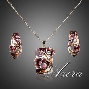 Эксклюзивный набор «Превосходство» (бренд-AZORA) из серёжек и кулона, покрытыми цветной эмалью и Сваровски фото. Купить