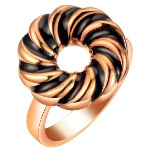 Круглое кольцо «Водоворот» с чёрной эмалью, без камней и вставок купить. Цена 85 грн или 270 руб.