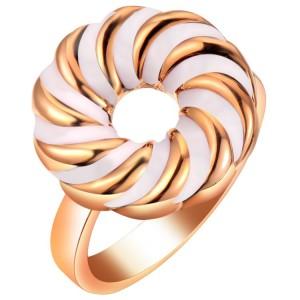 Плоское кольцо «Водоворот» с белой эмалью, без камней и вставок купить. Цена 85 грн или 270 руб.