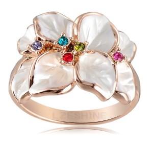 Белое кольцо «Подснежник» (бренд-ITALINA) с эмалью, цветными камнями Сваровски и позолотой купить. Цена 160 грн или 500 руб.