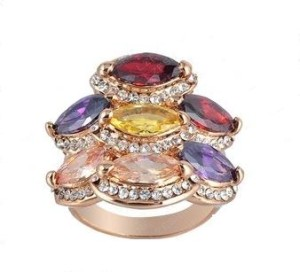 Разноцветное кольцо «Ядвига» (бренд-ITALINA) с камнями Сваровски и золотым напылением купить. Цена 280 грн