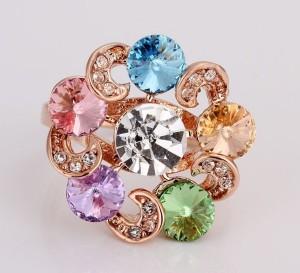Круглое кольцо «Марсельеза» (бренд-ITALINA) с цветными камнями Сваровски и золотым покрытием купить. Цена 200 грн