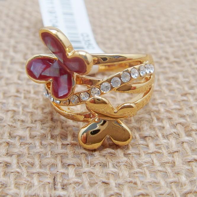 Жёлтое кольцо «Мотыльки» с эмалью, перламутром и полосой из страз купить. Цена 135 грн