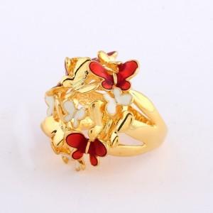 Большое кольцо «Мотыльки» в виде стаи бабочек из белой и красной эмали, без камней купить. Цена 150 грн