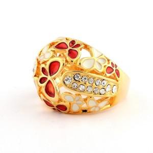 Объёмное кольцо «Рубенс» с бабочками из белой и красной эмали и мелкими стразами купить. Цена 150 грн