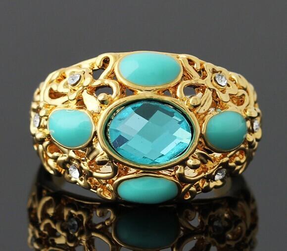 Старинное кольцо «Берта» под жёлтое золото с бирюзовым кристаллом и с эмалью купить. Цена 135 грн
