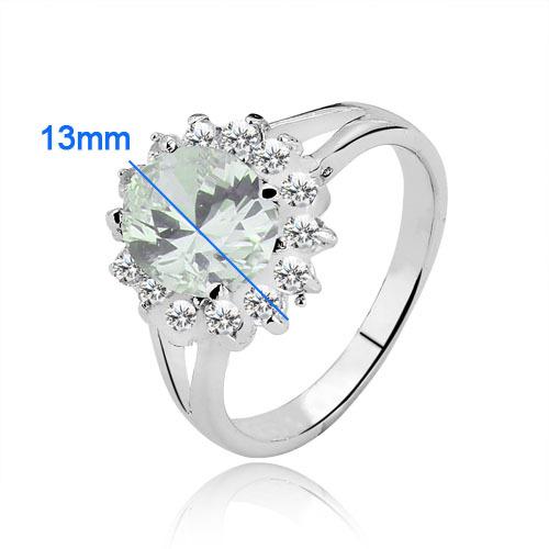 Классическое кольцо «Елизавета» с прозрачным цирконом и платиновым покрытием купить. Цена 185 грн
