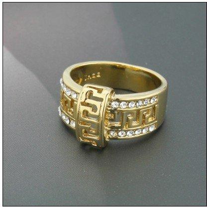 Недорогое кольцо «Нерон» с «греческой дорожкой» и бесцветными стразами купить. Цена 79 грн