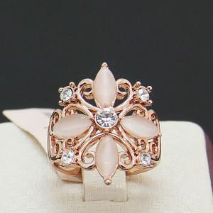 Старинное кольцо «ДаВинчи» (бренд-Viennois) с розовым опалом, золотым напылением и Сваровски купить. Цена 310 грн