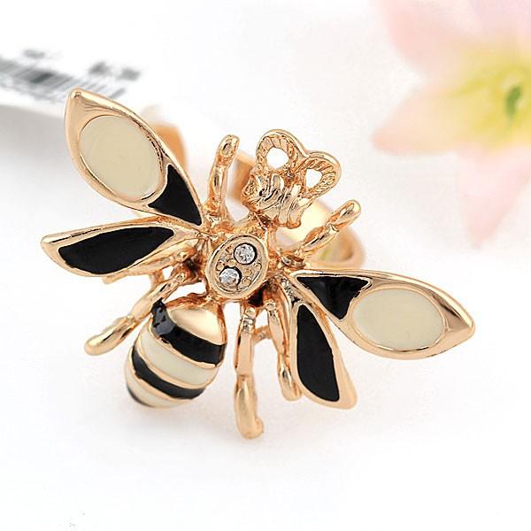 Интересное кольцо «Шершень» с чёрно-белой эмалью и золотым покрытием купить. Цена 175 грн