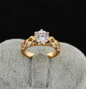Обручальное классическое кольцо с круглым фианитом и золотым напылением купить. Цена 135 грн