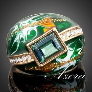 Эксклюзивное кольцо «Ворожка» (AZORA) с зелёным камнем Swarovski, цветной эмалью и золотым напылением купить. Цена 450 грн