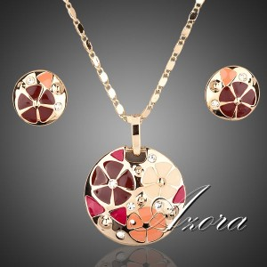Прелестный комплект «Мандарин» (AZORA) с круглыми серьгами и кулоном со Сваровски, эмалью и золотым покрытием фото. Купить