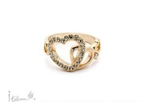 Молодёжное кольцо «Сердечки» (бренд-ITALINA) с золотым покрытием и камнями Сваровски купить. Цена 185 грн или 580 руб.