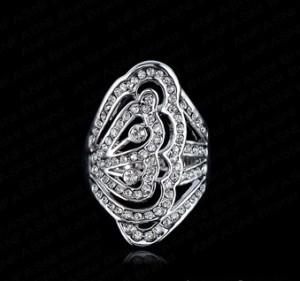 Крупное кольцо «Ажурное» с напылением из белого золота и стразами Сваровски купить. Цена 240 грн или 750 руб.