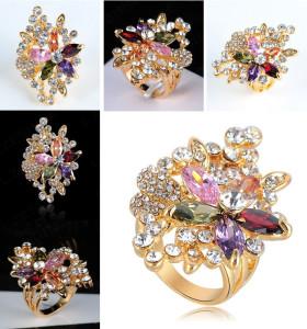Большое кольцо «Роскошное» с цветком из цветных камней Сваровски купить. Цена 290 грн