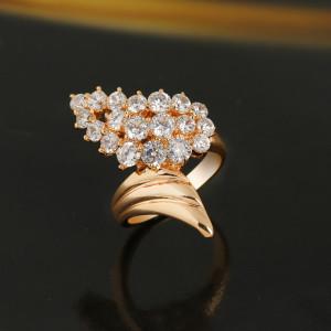 Шикарное широкое кольцо с золотым покрытием и блестящими фианитами купить. Цена 190 грн или 595 руб.