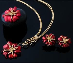 Элитный набор «Царица Тамара» из серёжек, кольца и кулона с позолотой, красной эмалью и стразами Сваровски купить. Цена 580 грн