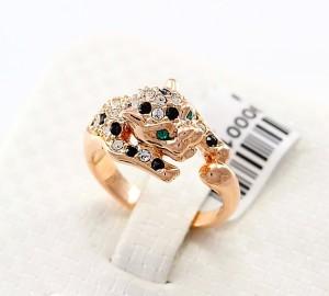 Необычной формы кольцо «Леопард» (бренд-ITALINA) с золотым напылением и кристаллами Сваровски фото. Купить