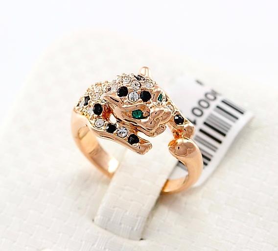Необычной формы кольцо «Леопард» (бренд-ITALINA) с золотым напылением и кристаллами Сваровски купить. Цена 235 грн