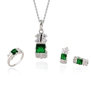 Скромный набор «Веснянка» из серёжек, кольца и подвески с напылением из белого золота и цирконами купить. Цена 399 грн или 1250 руб.