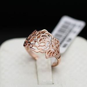 Ажурное кольцо «Золотая роза» (бренд-ITALINA) без вставок и камней с покрытием из розового золота купить. Цена 160 грн