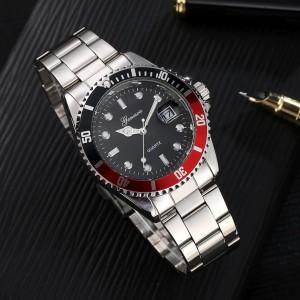 Стальные мужские часы «Gonewa» с кварцевым механизмом с датой и серебристым браслетом фото. Купить