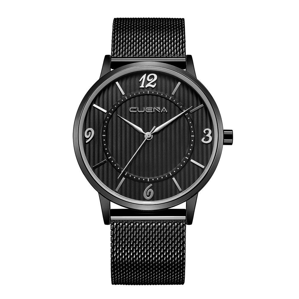 Строгие мужские часы «Cuena» классического дизайна с чёрным ремешком-кольчугой купить. Цена 399 грн