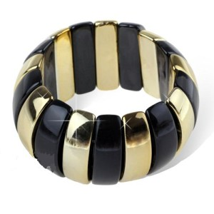 Акриловый большой браслет на резинке с черными и золотыми звеньями фото. Купить