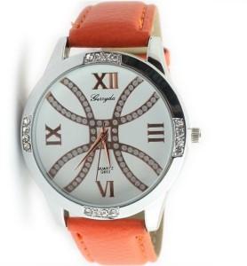 Серебристые наручные часы «Gerryda» с белым циферблатом с римскими цифрами и оранжевым ремешком купить. Цена 199 грн