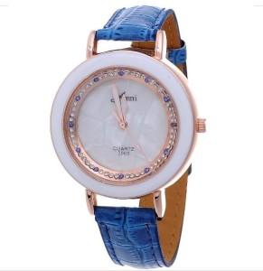 Кварцевые женские часы «Amni» белого цвета со стразами на синем ремешке купить. Цена 180 грн