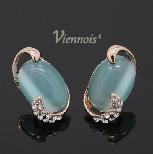 Элегантные серьги «Водопад» (Viennois) с кошачьим глазом голубого цвета и кристаллами Сваровски купить. Цена 399 грн