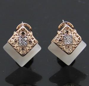 Шикарные серьги «Скифия» (бренд-Viennois) с большим камнем (опалом) квадратной формы купить. Цена 420 грн