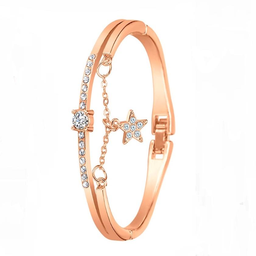 Полужёсткий браслет «Игривый» с покрытием под розовое золото купить. Цена 135 грн