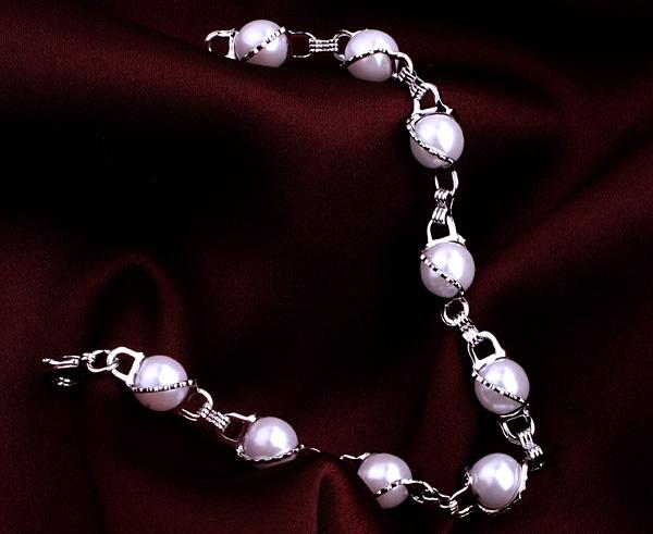 Свадебный браслет «Пенелопа» из белого жемчуга в оправе с напылением из белого золота купить. Цена 260 грн