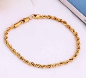 Позолоченный браслет-цепочка с красивым плетением, покрытый жёлтым золотом фото. Купить