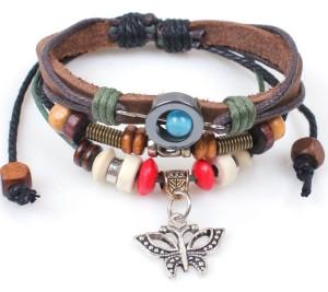 Женский кожаный браслет с кулоном-бабочкой, деревянными бусами и вставкой из гематита фото. Купить
