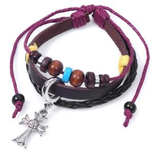 Двойной кожаный браслет с крестом, чёрным кожаным шнуром и бусинами фото. Купить