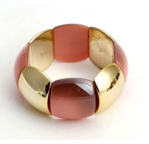 Розово-золотой браслет «Летний» с пластиковыми звеньями на резинке купить. Цена 150 грн