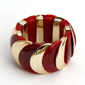 Пластиковый браслет «Красочный» на резинке с красными и золотыми звеньями купить. Цена 150 грн