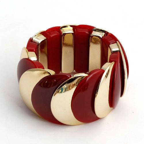 Пластиковый браслет «Красочный» на резинке с красными и золотыми звеньями купить. Цена 175 грн