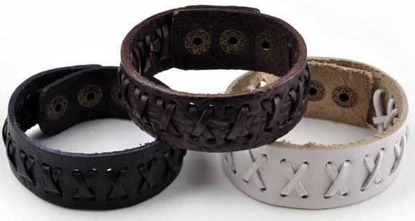 Простые браслеты из кожи для женщин и мужчин с прострочкой в виде крестиков купить. Цена 115 грн