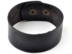 Самый простой браслет в виде полосы из чёрной кожи на застёжке-кнопке купить. Цена 85 грн