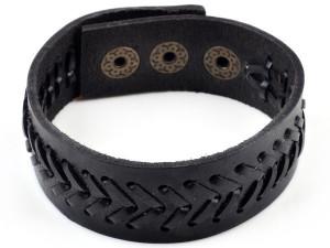 Унисекс черный браслет из натуральной кожи со строчкой в виде шеврона на застёжке-кнопке фото. Купить