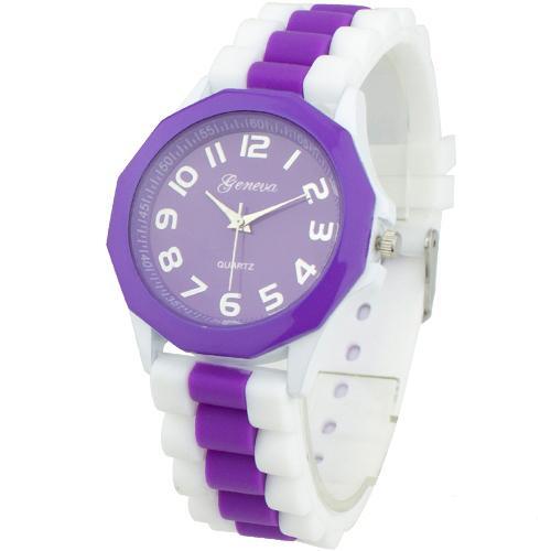 Обычные часы «Geneva» с фиолетовым циферблатом и силиконовым ремешком купить. Цена 225 грн