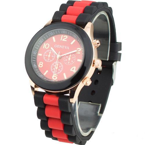 Популярные часы «Geneva» в золотистом корпусе с красно-чёрным ремешком купить. Цена 235 грн