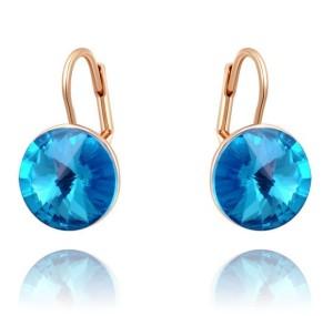 Популярные серьги «Небесные» (бренд-ITALINA) с голубым камнем Сваровски и 18-ти каратной позолотой фото. Купить