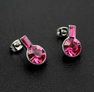 Простые серьги «Барабарис» (бренд-ITALINA) с розовыми камнями Сваровски и напылением из белого золота купить. Цена 190 грн