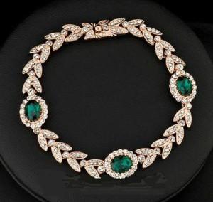 Роскошный браслет «Изумруд» (бренд-ITALINA) с зелёными камнями Сваровски и золотым напылением купить. Цена 750 грн