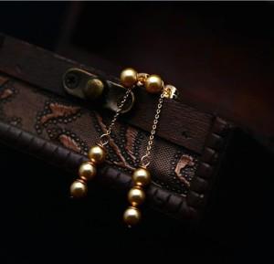 Стильные серьги Рапунцель» (бренд-ITALINA) с бусинами кофейного цвета на позолоченной цепочке фото 1